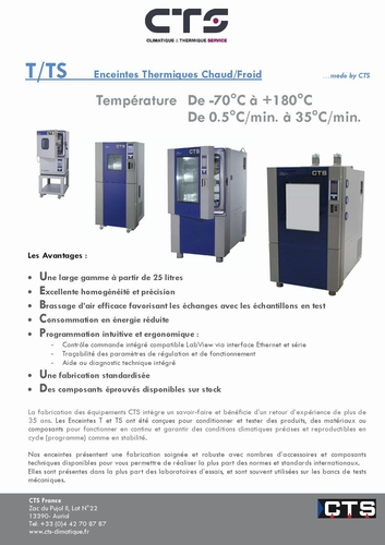 Brochure T & TS gamme Enceinte Thermique VRT CTS Gmbh